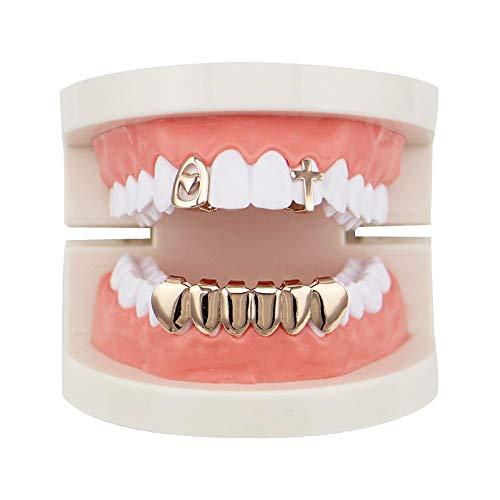 Top Bottom Tooth Caps für den Mund Gold 2 Oben und 6 unten Grills Set Shiny Hip Hop Teeth Grills (Farbe : Rose Gold) (Rose Gold Grill)