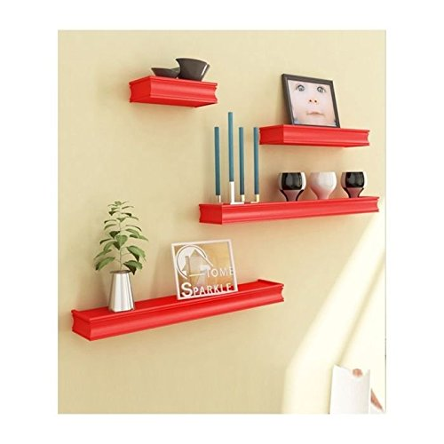 Onlineshoppee Beautiful Wooden Red Rectangular Wooden Wall Shelf Set of 4