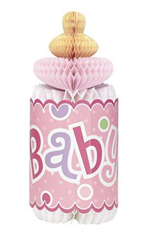Unique Party Supplies Dekoration in Flaschenform zu Partys von werdenden Müttern, 30,5cm, mit rosa Punktmuster in Wabenstruktur (Reveal Dekorationen Party)