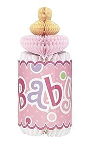 Partido Ênico de 12 pulgadas Honeycomb Lunares botella en forma de Baby Shower Decoración (rosa)