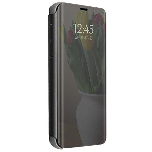 Samsung galaxy s8 plus clear view standing cover galaxy s8 mirror flip custodia wallet portafoglio lusso elegante smart flip ultra slim case per galaxy s8/s8 plus (galaxy s8 plus, nero)