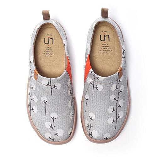 UIN Damen Nude Cotton Fashion Art Sneaker bemalte Leinwand Slip on Travel Schuhe (36) -