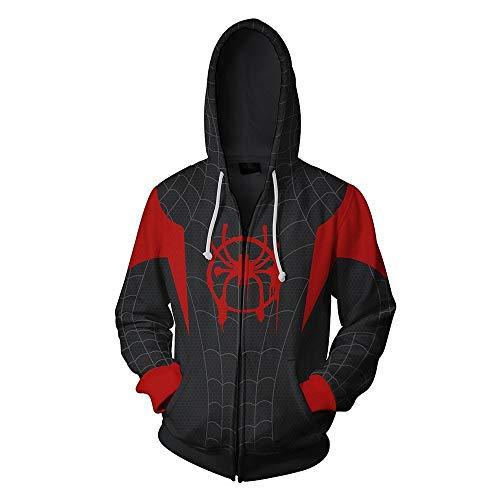CSXGUO Kapuzenpullover Manwei Ultimate Spider-Man 3D Bedruckte Sanitärkleidung, offene Hemden und Caps Cosplay, Gules, L