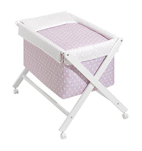 Minicuna Plegable Blanco Rosa: Estructura + Vestidura + Colcha Desenfuntable + Colchón + Almohada