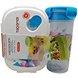 Tuelip Printed Lunch Box Set With Water Bottle For School Going Kids Girls & Boys (Blue) 1 Lunch Box & Water Bottle