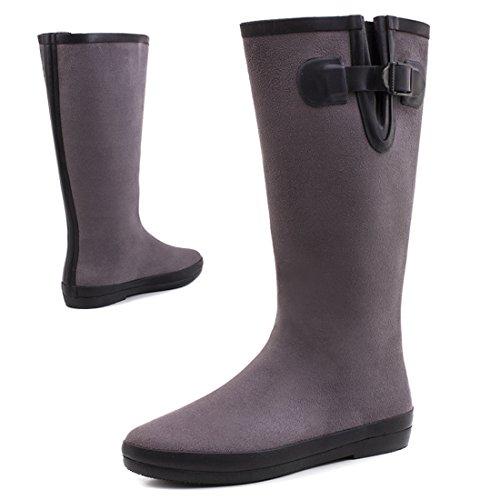 Stylische Damen Hochschaft Schlupf Boots Stiefel mit Schnalle in Lederoptik Grau