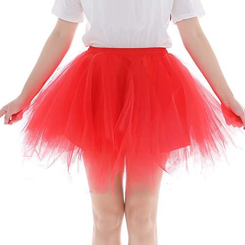 Feoya Damen Vintage Petticoat 1950s Cosplay Tütü Unterrock Gefalteter Gaze Kurzer Rock Halloween Karneval Kostüm
