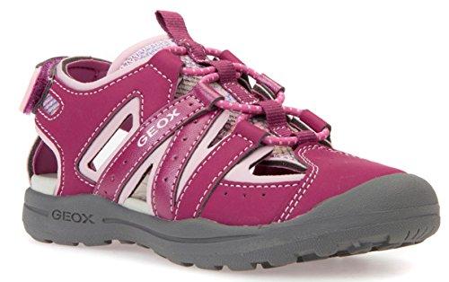 Geox J826AB Jr Vaniett Sportliche Mädchen Sandale, Kindersandale mit Gummizug und Klettverschluss, Geschlossene Zehenkappe, Atmungsaktiv Pink (Fuchsia/Pink), EU 29