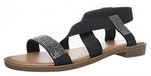 Fitters Footwear - Lynn - Damen Sandalen - Schwarz Schuhe in Übergrößen, Größe:45