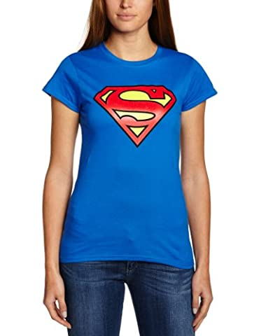 DC Superman - Logo (Womens) T-shirt Col ras du cou Manches courtes Femme Bleu (Blau) - Taille: M