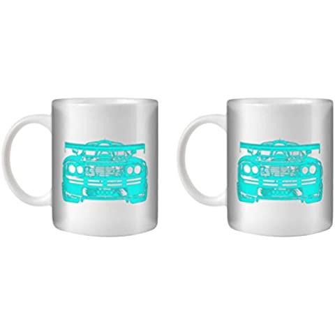 STUFF4 Taza de Café/Té 350ml/2 Pack Turquesa/F1 GTR/Cerámica Blanca/ST10