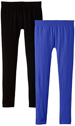 Luigi di Focenza Damen Matt Fein Legging 1673, 2er Pack, 100 DEN Blau (royalblau-schwarz 334/001)