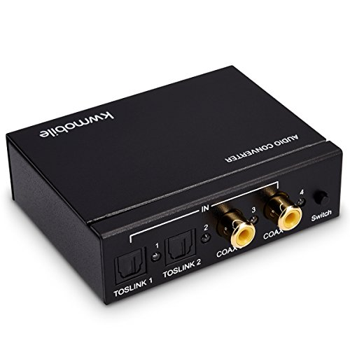 kwmobile Audio Konverter Digital zu Analog - Wandler mit 4 Port Switch Toslink Kabel - SPDIF Cinch Optisch Koaxial auf Klinke - Kopfhörer TV