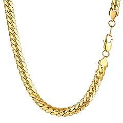 Idea Regalo - PROSTEEL Collana da Uomo Catena Cubana 45 cm Larghezza 8 MM Oro Acciaio Inossidabile Placcato Oro 18K