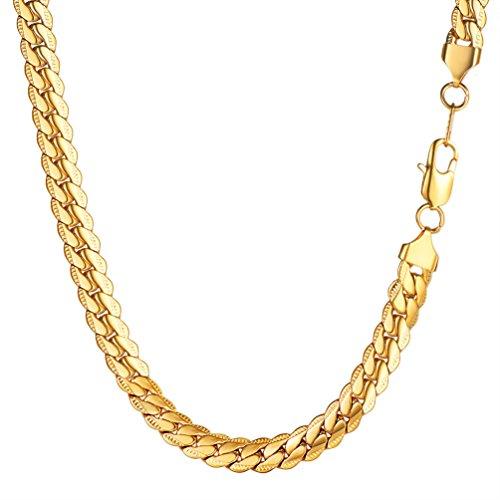 PROSTEEL Collana da uomocatena Cubana 65 cm Larghezza 8 MM Oro Acciaio Inossidabile Placcato Oro 18K