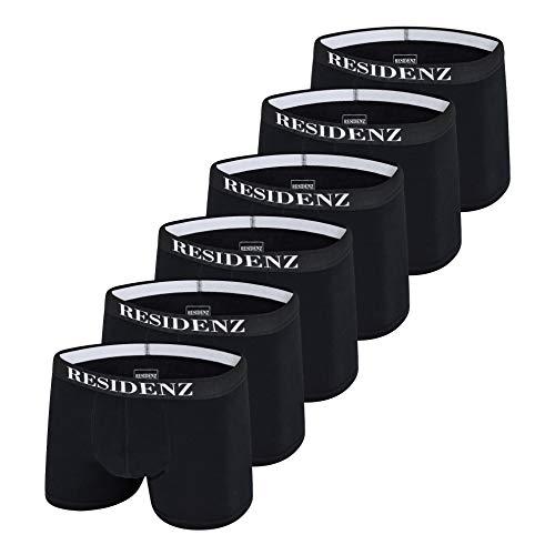 Jungen Boxer-shorts (RESIDENZ Boxershorts Men Herren Unterwäsche Unterhosen Männer Jungen Retroshorts Baumwolle 6er Pack (M, Schwarz))