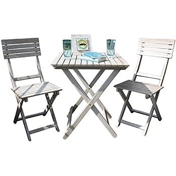 Amazon.de: Balkonset Wien grey washed Akazie Holz 2 Stühle 1 Tisch ...