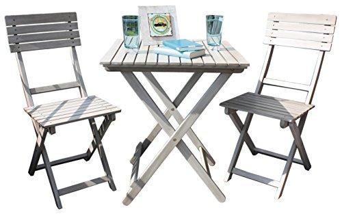 Balkonset Wien grey washed Akazie Holz 2 Stühle 1 Tisch Gartenmöbel Garten Stuhl und Tisch Set