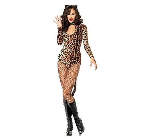SMSM Sexy Leopard Katze Damen Bar Lifestyle Dessous Cosplay Bundles Tattoo Kleider Halloween (Frauen Paare Für Halloween Kostüme)
