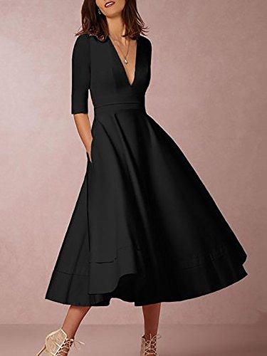 Boutiquefeel Damen Elegant Halbrmel tief V Kragen Hohe Taille Vintage Swing Kleid Schwarz