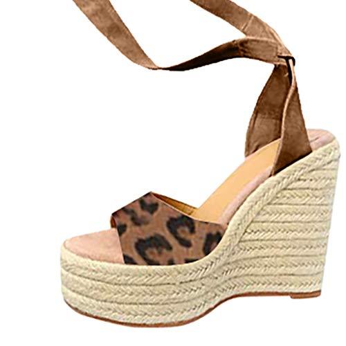 Lucky Mall Frauen Knöchelschnalle Leoparden Wedge Sandalen mit Gewebten Sohlen, Damen Sommer Strandschuhe Mode Offene Zehensandalen Lässige Sandalen Herde Party Schuhe Festival Schuhe - Metall Gewebten Gürtel