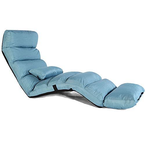 Oevina Lounge Schlafsofa Faltbare Verstellbare Bodenliege Sleeper Futon Matratze Seat Chair5 Grade Verstellbar (Color : Blue) - Metall-futon-matratze
