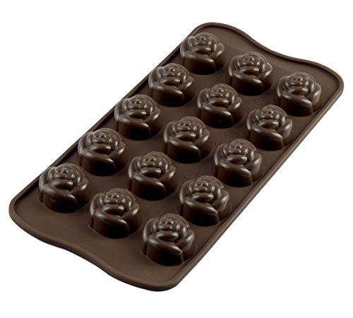 SCG13 Molde de silicona para el chocolate con 15 cavidades con forma de rosas, color marrón