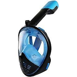 masque de plongée pour les enfants,Masque de plongée imperméable en silicone entièrement sec, équipement de plongée avec tuba incassable et anti-buée, noir et bleu _L / XL,loupes de masque de plongée