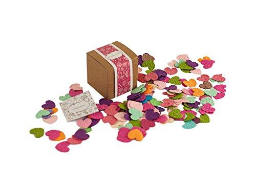 PAPERBLOOMS Seedbombs - Blühende Konfetti Herzen bunt, Blumensamen als besonderes Weihnachtsgeschenk für die Frau oder Freundin