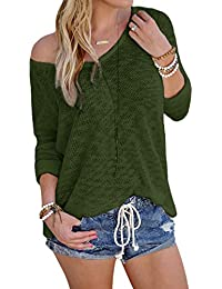 30485360e2ff8 YOINS Women Casual Loose Knitted Long Sleeves V-Neck Blouses Sexy Plus Size  T-