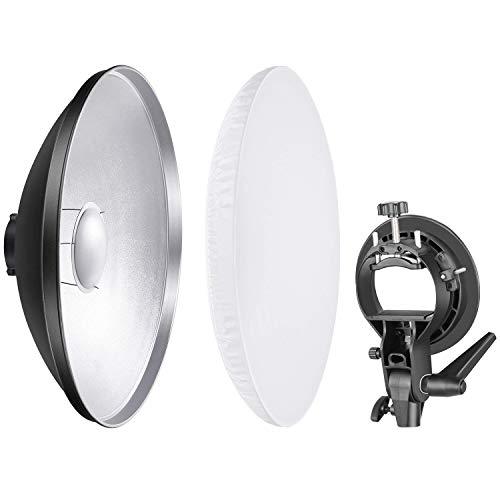 Neewer Foto Studio 41 Zentimeter Beauty Dish Aluminium Beleuchtung Reflektor mit weißem Diffusor und S-Typ Blitz Speedlite Halterung Bowens Montage