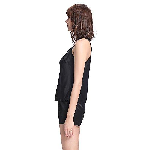 LILYSILK Pyjama Short Femme Soie Débardeur + Short 100% Soie 22 Momme Noir