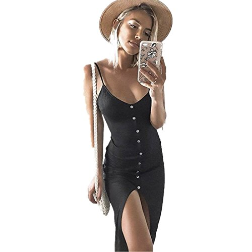 Kleid Damen Kolylong® Frauen Reizvoller V-Ausschnitt Ärmelloses Kleid Lang Elegant Split Maxi Kleid Stretch Strandkleid Cocktail Bodycon Partykleid Abendkleid Shirt Tops (S, Schwarz) -