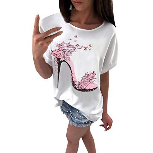OVERDOSE Frauen Kurzarm Blumen Pumps Gedruckt Tops Strand Beiläufige Lose Bluse Top T-Shirt (EU-38/CN-M, - Für Erwachsene Übergröße Batman Kostüm