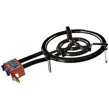 Garcima 76040 L40 - Hornillo paellero gas plano, 2 fuegos, Negro, 41 x