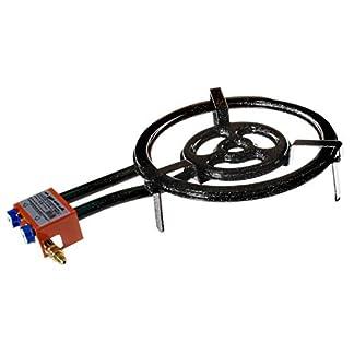 Garcima 76040 L40 – Hornillo paellero gas plano, 2 fuegos, Negro, 41 x 65 x 12 cm
