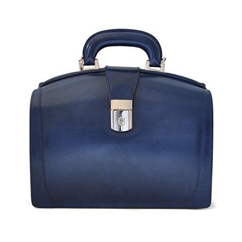 Pratesi Miss Brunelleschi italienischem Leder Tasche - R120/29 Radica (Creme) Blau