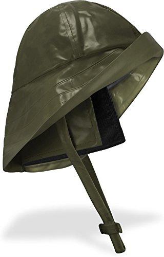 normani Regenhut Südwester mit Kinnband, breiter Krempe und Innenfutter Farbe Oliv Größe XL