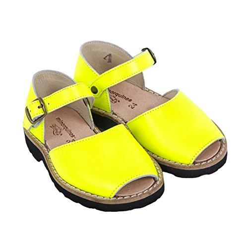 Minorquines - Sandales Frailera Boucle Fluo Amarillo - Enfant jaune fluo