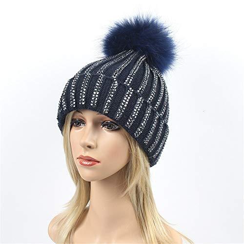 Strass Hairball Frauen Winter Stricken Wolle warme mütze tägliche Slouchy hüte Hut (Farbe : Navy)