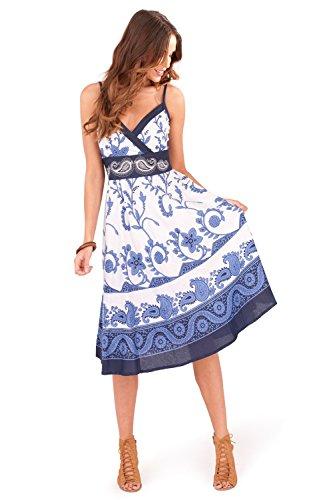 Pretty Ladies Animal & Floral Print Short Strappy V Neck Dress, Pink or Blue