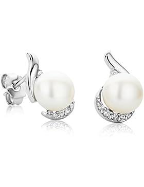 Orovi perlenohrstecker Set Damen Ohrringe Perlenohrringe 925 Sterling Silber süßwasserperlenmit Zirkonia Brillantschliff...