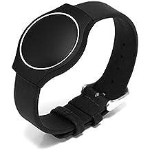 Correa de piel Fulltime(TM) para monitor de pulsera Misfit Shine, mujer hombre, negro, talla única