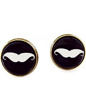 Miss Lovie Ohrstecker Bart Ohrringe Mustache Schnurrbart Cabochon 12mm Modeschmuck Schwarz Weiß Bronze