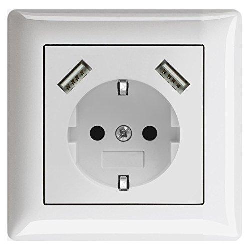 230 V Schutzkontakt Schuko Wandsteckdose Steckdose Unterputz 2 x USB Ladegeräte passend für Gira System 55 Reinweiß glänzend weiß TÜV geprüft (1. Einfachsteckdose)