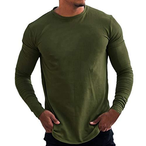 SANFASHION Herren Langarmshirt Longsleeve Casual Unifarben Pullover Täglichen Bodybuilding Sweatshirt Basic Fitness Sport Gym T-Shirt -
