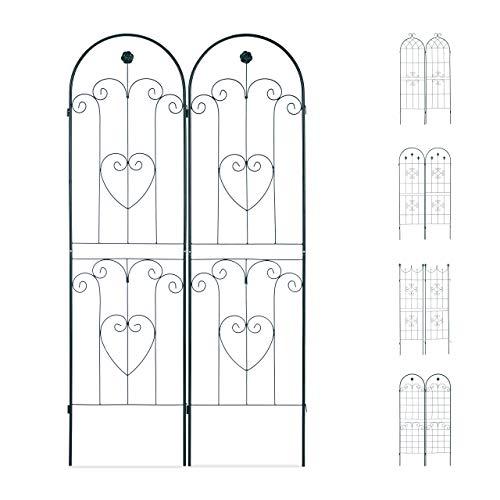 Relaxdays Set 2 Grigliati per Rampicanti Metallo 180x50 Design ad Archi Fiori e Cuori ad Incastro Verde Scuro 180 x 50