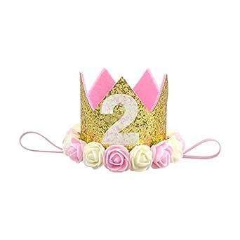 Baby Princess Tiara Crown, Aiernuo Kids First Birthday Hat Sparkle Gold Flower Style