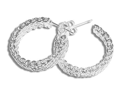 Enez Ohrringe Creolen Ohrstecker 925 Sterling Silber pl B:0,5cm Ø 2,5 cm D082a