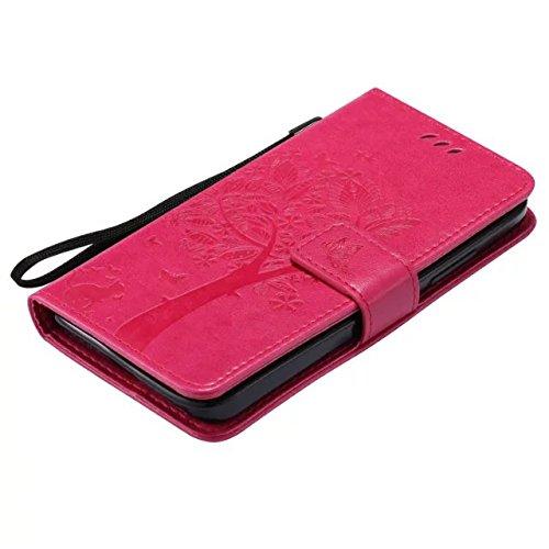 Nokia Lumia N640 Case, Embossing gepresst Blumen Katze und Baum Muster Solid Color PU-Leder Tasche weichen Silikon-Cover Flip-Stand Geldbörse mit Lanyard Tasche für Nokia N640 ( Color : 11 , Size : No 7
